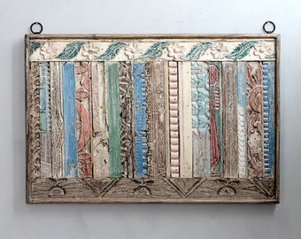 36 x 24 Wood Wall Hanging Reclaimed Architectural Elements Wood Panel Global Art Boho Decor India Moroccan Interior Cottage Chic Colorful