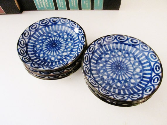 Vintage Blue and White Butter Pats, Boho Chic, Arabesque Design, Oriental Style Dishes, Set of Six Nut Dishes