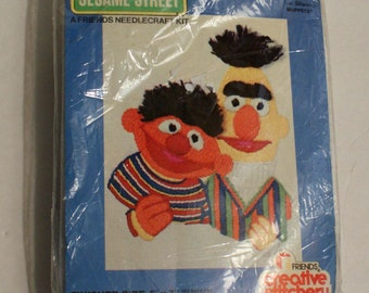 Bert and Ernie Needlecraft Kit Sesame Street #106 Opened and Complete Original 1970's Kit