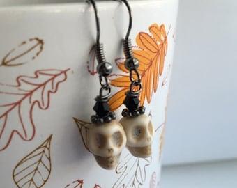 White and Black Skull Bead Gunmetal Earrings