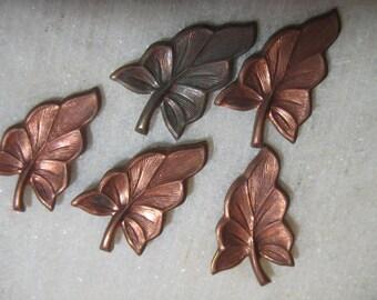 Vintage Art Deco Leaf Findings;  Die Struck Stamped Brass, No Hole, Deco Leaf Design, Brass Jewelry Findings,  28mm x 15mm, 5 Pcs.