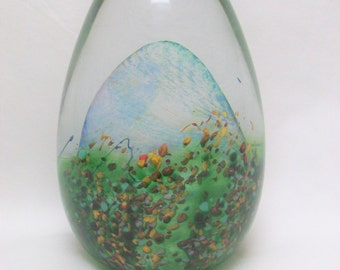 Art Glass Colored Paperweight Egg Shaped /