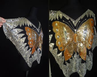 Sequin GLAM Butterfly Beaded Vintage 1980's Women's Club Rocker Blouse Shirt M L
