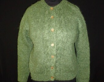 Cable Knit Green Mohair Wool Vintage 1950's Women's Cardigan Sweater M
