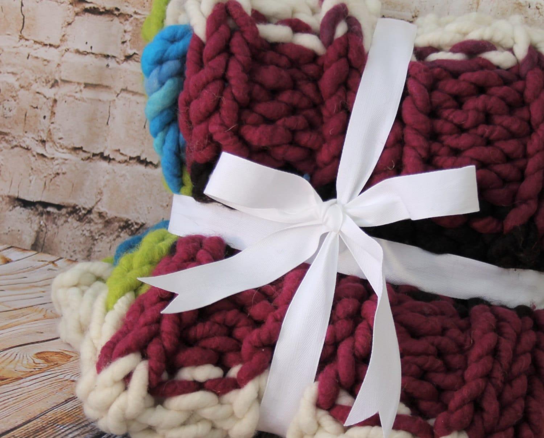 "Big  Chunky  Blanket/Throw - Squishy Yarn - Merino/Alpaca 24"" x 48"" ( BL3)"
