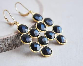 Black Onyx Earrings, Black Earrings, Onyx Earrings, Gold Filled Earrings, Gold Earrings, Stone Earrings, Everyday Earrings, Onyx, Black