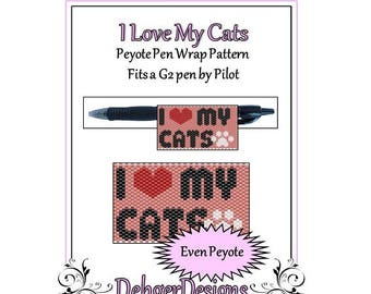 Bead Pattern Peyote(Pen Wrap/Cover)-I Love My Cats