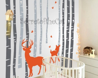 Nursery wall Decal - Wall Decals Nursery - Tree Decal - Birch Trees decal - Birch trees - Wall Decal - Tree