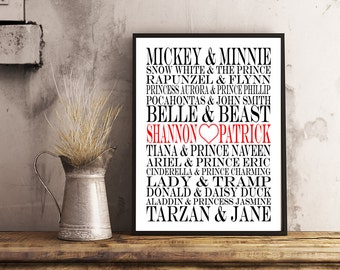Disney Couples - Personalized Subway Art - Print 8x10