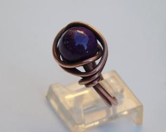 Jade Ring, Jade Copper Ring, Eggplant Jade Copper Ring, Jade beaded ring, purple jade ring, vintage copper jade ring, jade bead antique ring
