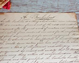 A Bachelor~ Antique circa 1861 Handwritten Calligraphy Page