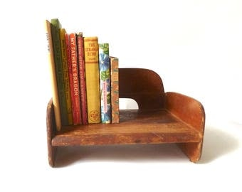 Vintage Wood Booster Seat ... Art Deco Pressed Wood High Chair, Antique Child's Chair, Brown Wooden Mini Book Shelf, Retro Counter Storage