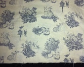 Easter Classic Toile Cotton Fabric/Light Yellow Classic Toile/Pastel soft color Toile Cotton Fabric/Sewing craft supplies/Easter Seasonal