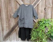 linen tunic top dress bat wing sleeve in black grey stripe ready to ship