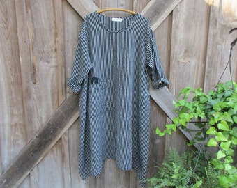 linen dress ethnic caftan in grey gray black stripe ready to ship
