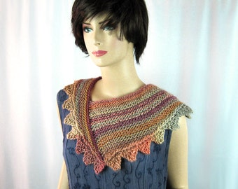 Hand Knit Cowl, Luxurious, Subtle Fall Tones, Plum Peach Beige, Asymmetric Triangle, Soft, Elegant, Sophisticated Wrap, Collar, Gift