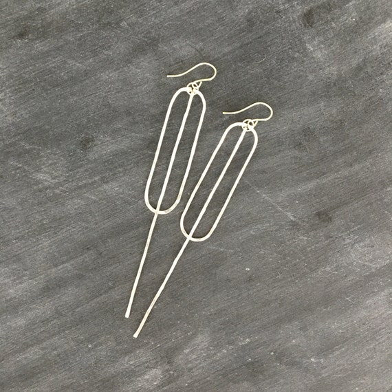 Silver Long Bar Ellipse Earrings