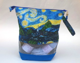 Knitting Crochet WIP Project Bag, Medium Zipper Bag, Starry Night Print fabric, Gift Idea, optional clear window.