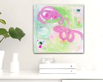 CHiQUiTA original abstract painting by Linnea Heide 12x12 acrylic on canvas - small painting - pink and green fun whimsical - quirky