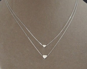 Sterling Silver Layered Necklace, Two Hearts Necklace, Birthday Gift, Mother's Gift, Kids' Necklace