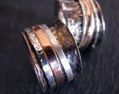Unique Wedding Band Set Gold Wedding Ring Set 14K Rose Gold Oxidized Silver Spinner Ring Mens Wedding Band Rustic Man Wedding Set Ring Set