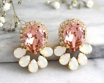 Blush Pink Earrings, Bridal Blush Earrings, Swarovski Crystal Earrings, Morganite Earrings, Statement Bridal Earrings, Gift For Her.