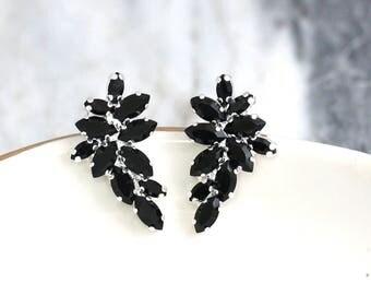 Black Earrings, Black Crystal Earrings, Black Swarovski Cluster Earrings, Gift for her, Bridesmaids Earrings, Black Crystal Silver Earrings