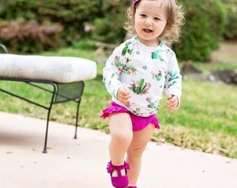 High waisted Baby Toddler Girls Swimsuit cactus succulent rash guard bikini