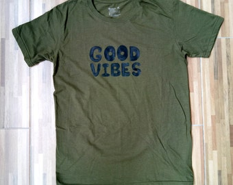 Graphic tee, gift, Good Vibes, unisex tee, art, funny tee, green shirt, M size