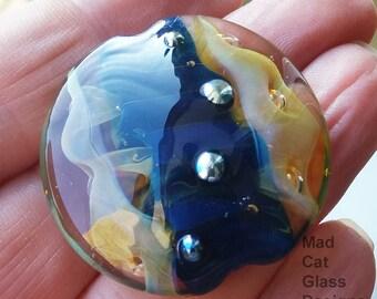 Nebula - Focal lampwork bead - glass bead - lampwork glass - OOAK - lampwork lentil bead