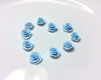 Pale blue rose beads handsculpted from polymer clay