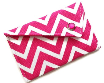 Business Card Case Monogrammed Business Card Holder - Pink White Chevron