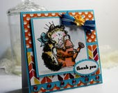 "Thank You Card- Handmade Card Greeting Card 5.25 x 5.25""  Penny Black Papercrafting Cards Gift Cat Mouse Stationery 3D Card - OOAK"