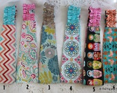 Fabric Headband Women Girls Reversible Hairband - Floral, chevrons, birds, butterflies ..Pick one