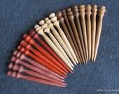 Set of 20 Hand Turned Shawl Pins - Maple, Cherry, Padauk, Purpleheart and Ipe - 4 of each
