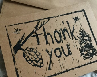 Thank You Handstamped Linocut Card