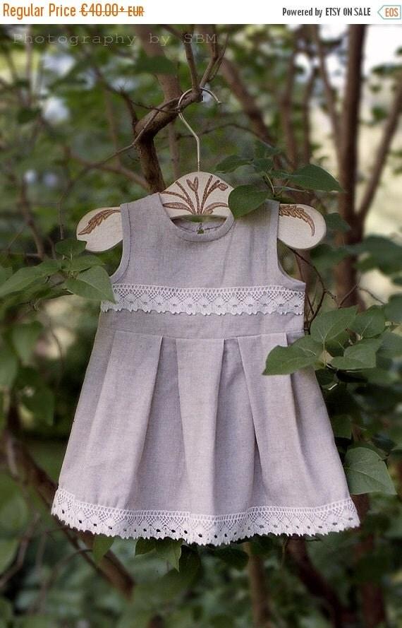 SALE Linen flower girl dress - Linen girl dress - Summer toddler girl dress - Rustic flower girl dress - Gray girl dress - Linen toddler dre
