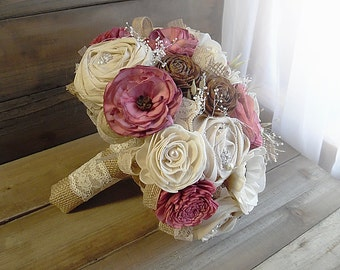 Ready to Ship ~ Will Arrive To You in 2 to 3 Business Days!  ~~~ Large Rustic Bridal Sola Flower Bouquet ~ Dusty Rose