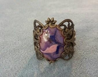 Victorian/Gothic/Brass/Filigree/Purple /Pink / Copper Enamel/ Purple Ring, Victorian Purple Ring, Gothic Purple Ring, Brass Filigree Ring