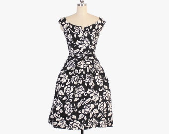 Vintage 50s PARTY DRESS / 1950s Bold B&W Black and White Floral Full Skirt Dress XS