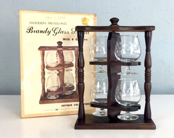Wooden Revolving Brandy Glass Stand with 4 Glasses, Bourbon Drinker, NOS Retro Barware, Stemmed Cocktail Glasses, New Old Stock with Box