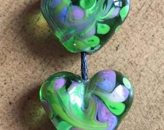 Spring greens - lampwork bead pair
