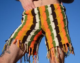 Crochet Booty Shorts Olive Stripes and Fringe