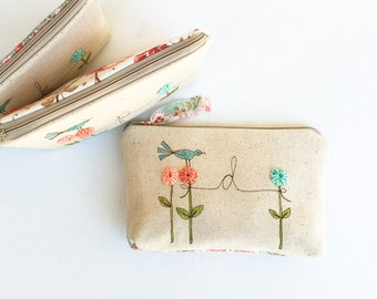 Monogram Bridesmaid Cosmetic Bag, Monogrammed Wedding Party Gift, Personalized Cosmetic Case, Floral Makeup Bag, Garden Embroidered Bag
