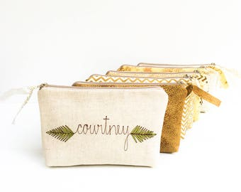 Fern Embroidered Cosmetic Bag, Personalized Bridesmaid Proposal Gift Gold and Green Bridal Party Makeup Bags Wedding Greenery Bridesmaid Bag