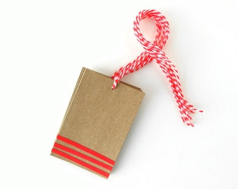 Gift Tags, Kraft with Red Stripes and Twine, Set of Six - Christmas, Holidays, Simple, Cute, Recycled, Small, Brown, Bakers, Blank, Fun
