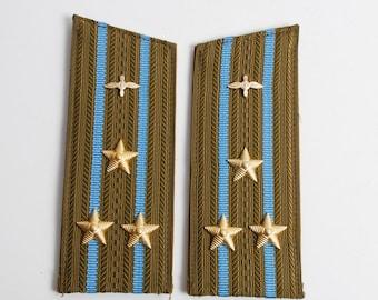 Vintage Soviet Navy officer uniform shoulder boards, shoulder strap, colonel  aircraft.