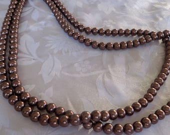 Vintage necklace, 8 mm. 46 inch chocolate brown faux pearl glass necklace, elegant jewelry