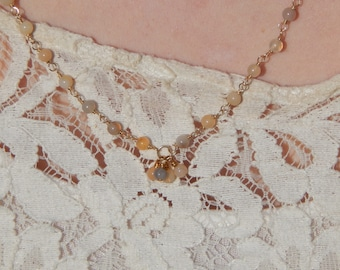 Long Natural Agate Beaded Chain Necklace with 14 Karat Gold Filled Wire, OOAK, One of a Kind