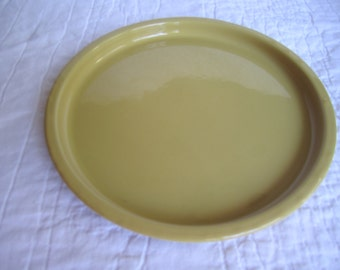 Vintage harvest gold yellow retro enamel on metal small round tray Mid Century decor